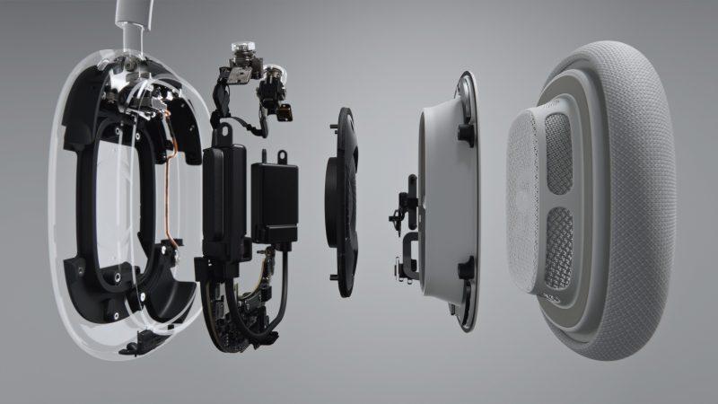AirPods Max -kuulokkeiden sisäinen rakenne.