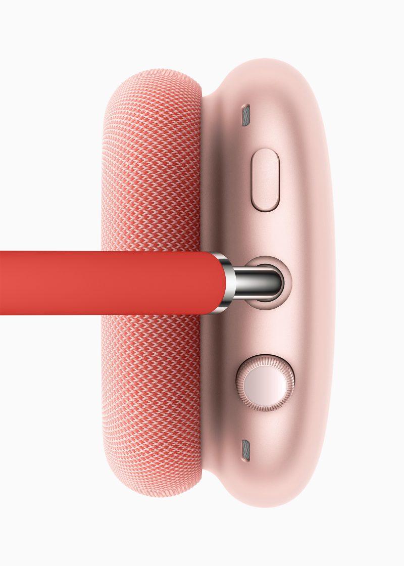 AirPods Max -kuulokkeissa on pyöritettävä digitaalinen kruunupainike ja toinen painike taustamelun vaimennuksen ja läpikuuluvuustilan välillä vaihtamiseen.