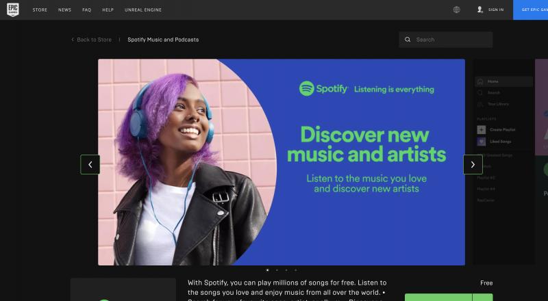 Spotify Epic Games Storessa.