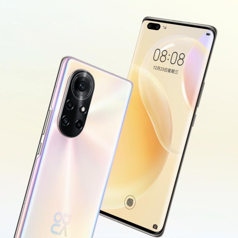 Huawei Nova 8 Prossa on 6,72 tuuman OLED-näyttö ja kaksi etukameraa.