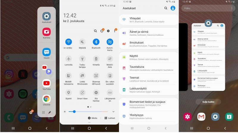 Kuvakaappauksia One UI 2.5 -käyttöliittymästä. Vasemmalla näppärä Reunavalikko.