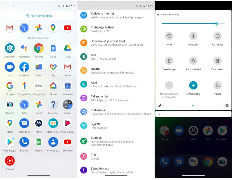 Puhdas Android 10 -ohjelmisto on tuttu monista älypuhelimista.