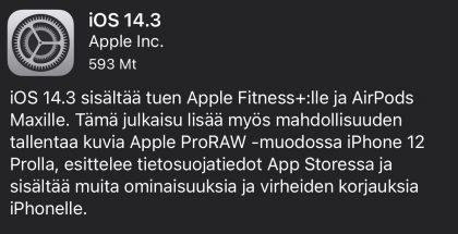 iOS 14.3 on nyt ladattavissa.