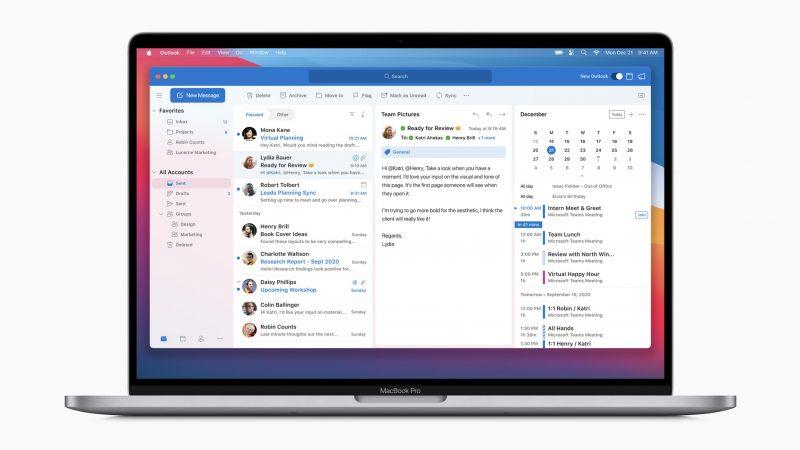 Muun muassa Outlook päivittyy macOS Big Surin ilmeen mukaiseksi.