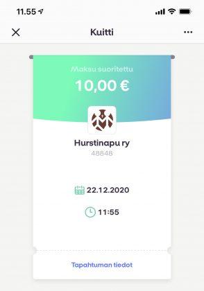 MobilePaylla on helppo lahjoittaa esimerkiksi Hurstin avulle. Maksun vastaanottajan lisääminen onnistuu numerolla 48848.