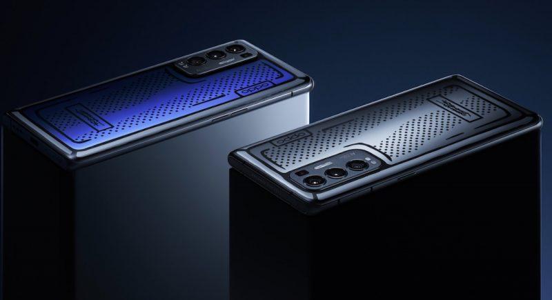 Reno5 Pro+:n yhdessä Joshua Videsin kanssa toteutettu erikoisversio väriä vaihtavalla takapinnalla.