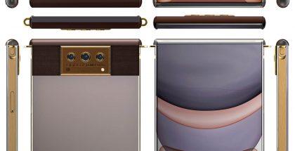 Hakemuksessa esitelty Oppo X Tom Ford -älypuhelin varustettuna rullautuen laajenevalla näytöllä. Kuva: LetsGoDigital.
