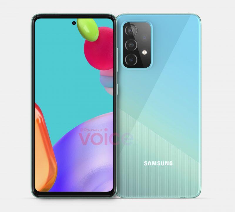 Samsung Galaxy A52 5G:n mallinnos. Kuva: OnLeaks / Voice.