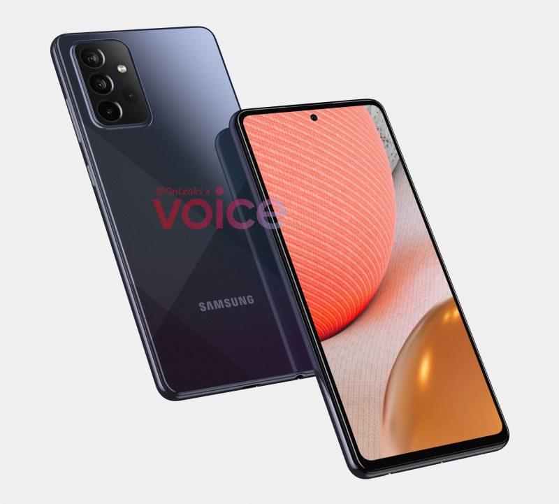 Samsung Galaxy A72 5G:n mallinnos. Kuva: OnLeaks / Voice.