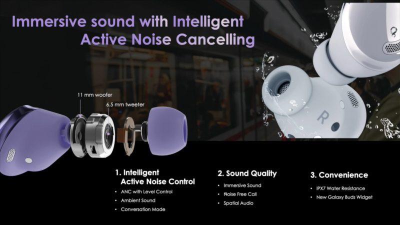 Lisätietoa Galaxy Buds Pro -kuulokkeiden aktiivisesta taustamelun vaimennuksesta. Kuva: WalkingCat.
