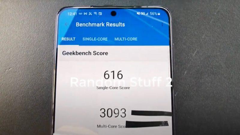 Kuvankaappaus videolta. Samsung Galaxy S21+:n GeekBench-testitulos.