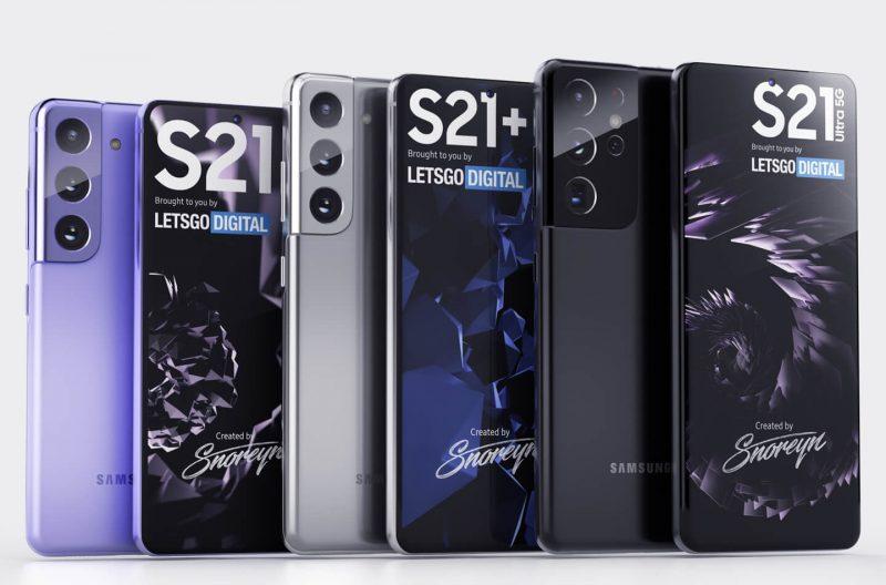 Kolmen Samsung Galaxy S21 -sarjalaisen mallinnokset. Kuva: LetsGoDigital.