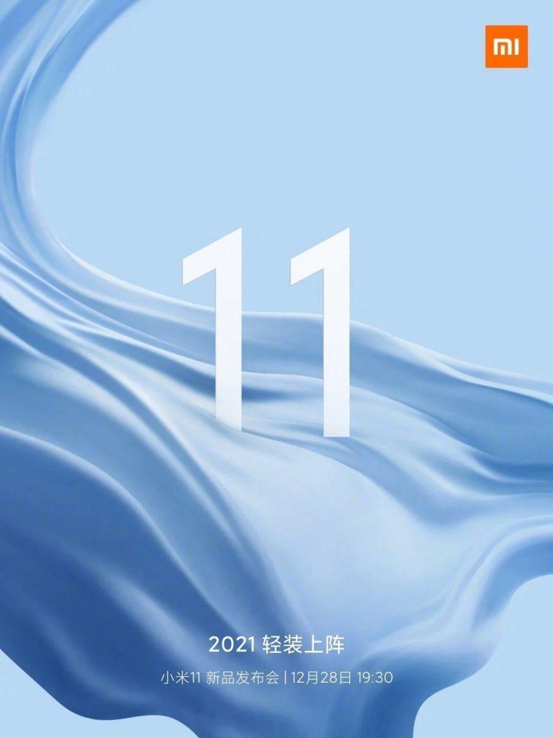 Xiaomi vahvisti Mi 11 -julkistuksen 28. joulukuuta.