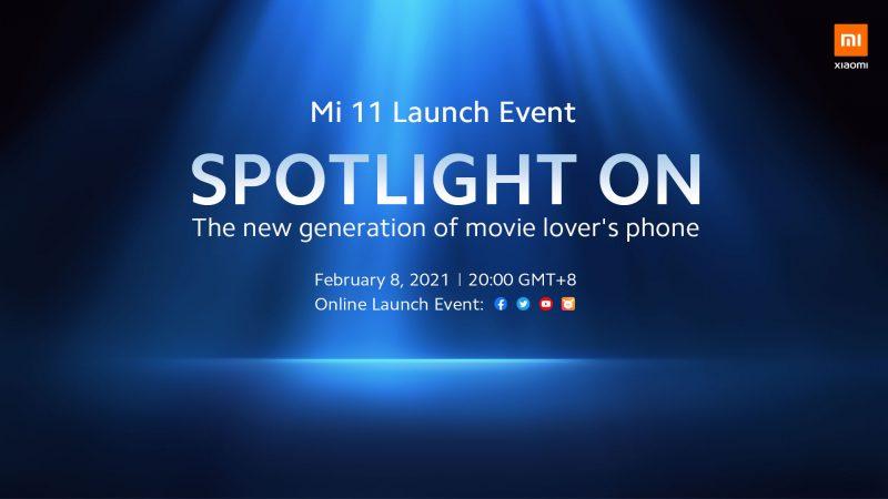 Xiaomin tulevasta Mi 11 -lanseeraustilaisuudesta kertova ennakkokuva.
