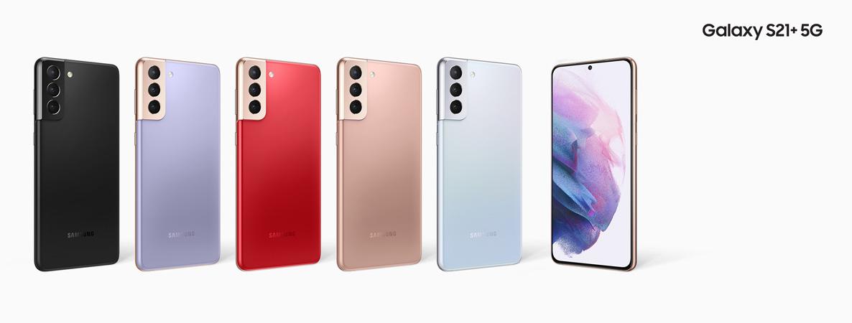Keskellä kaksi Galaxy S21+ 5G:n erikoisväriä - Phantom Red ja Phantom Gold. Muut kolme ovat perusvärit Phantom Black, Phantom Violet ja Phantom Silver.