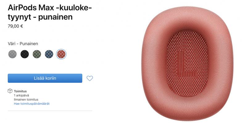 Applelta voi nyt tilata AirPods Max -kuuloketyynyjä eri väreissä.