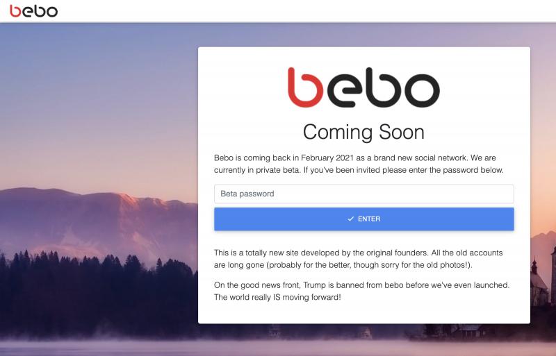 Bebo.comissa kerrotaan paluusta helmikuussa 2021.