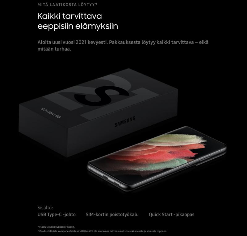 Samsungin Galaxy S21 Ultra 5G -huippupuhelin on yksi, jonka mukana ei enää toimiteta laturia tai kuulokkeita.