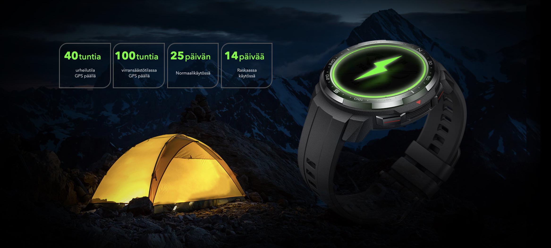 Pitkä akunkesto erottaa Honor Watch GS Pron muista älykelloista.