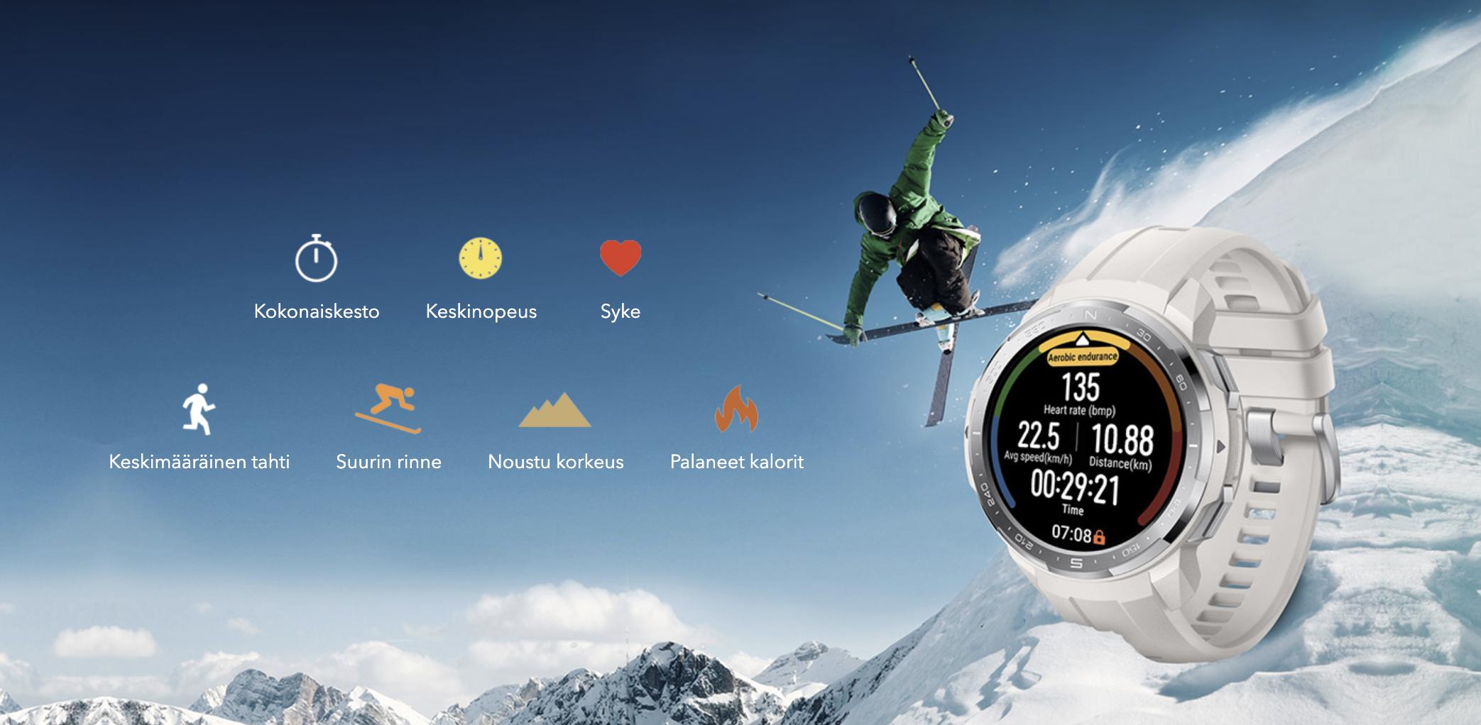 Honor Watch GS Pro sopii myös laskettelun ja hiihdon seurantaan.