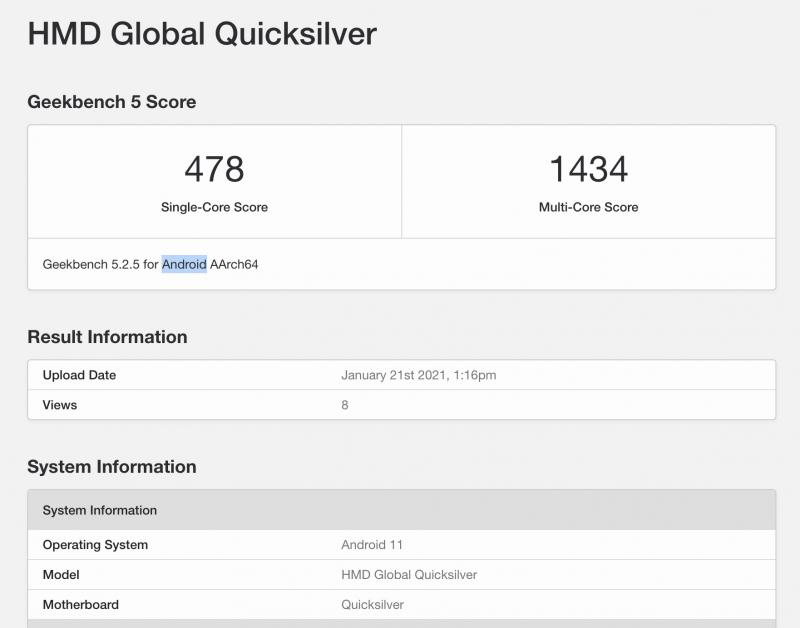 HMD Globalin Quicksilver-koodinimellisen laitteen GeekBench-testin tietoja.