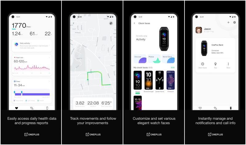 OnePlus Health -sovelluksen esittelykuvat.