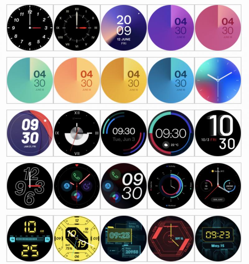 Tulevan OnePlus-älykellon kellotauluja.