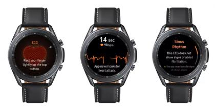Samsung Galaxy Watch3 ja EKG-sydänsähkökäyrän mittaustoiminto.