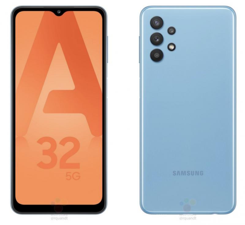 Samsung Galaxy A32 5G sinisenä. Kuva: WinFuture.de.