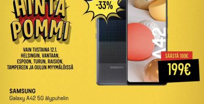 Galaxy A42 5G 199 eurolla Gigantin tarjouksessa.