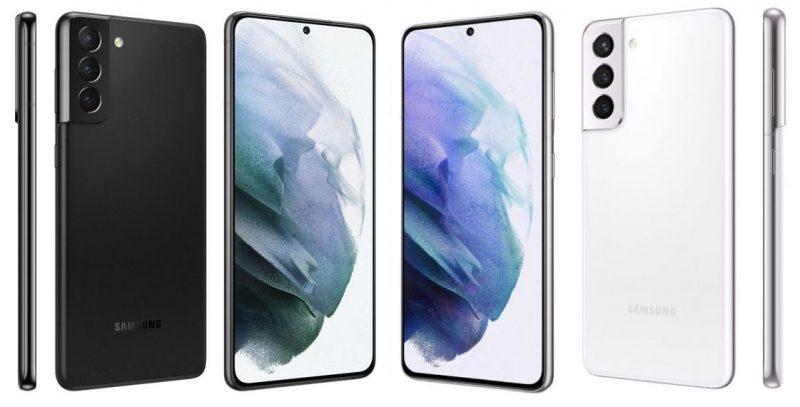 Samsung Galaxy S21 5G harmaana ja valkoisena.