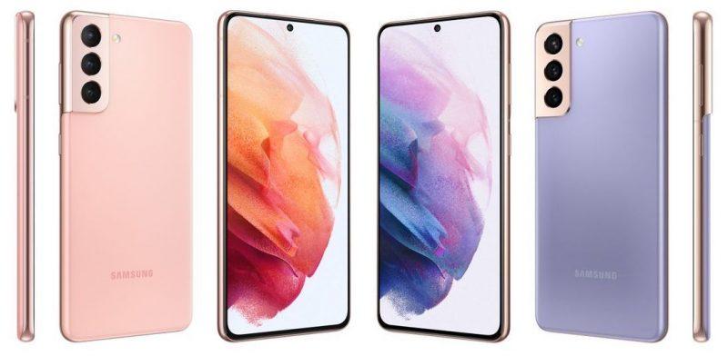 Samsung Galaxy S21 5G pinkkinä ja violettina.
