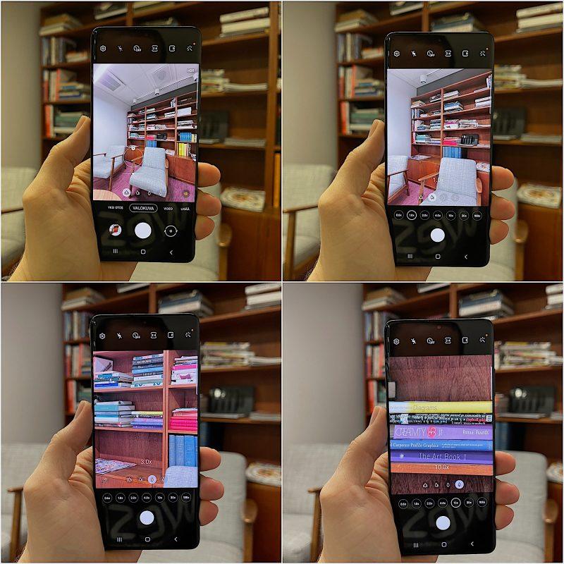 Esimerkinomainen asetelma Galaxy S21 Ultralla - kuvakulmat eri kameroilla: ultralaajakulmakamera (noin 0,5x), pääkamera (1x), 3x-telekamera ja 10x-telekamera.