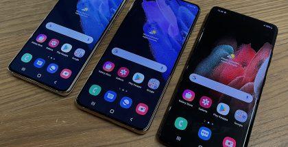 Galaxy S21 5G on selvästi joukon pienin, kun taas Galaxy S21+ 5G ja Galaxy S21 Ultra 5G ovat kooltaan lähellä toisiaan.