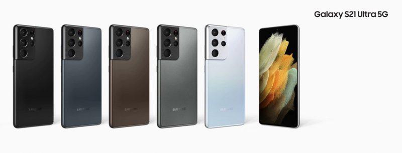 Samsung Galaxy S21+ Ultra 5G:n viisi värivaihtoehtoa. Reunoilla olevaa mustaa ja hopeaa odotetaan laajasti saataville, keskimmäistä kolmea vain rajatuille markkinoille. Kuva: Roland Quandt.