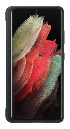 Samsung Galaxy S21 Ultran silikonisuojakuori, jossa on säilytyspaikka S Pen -kynälle. Kuva: Roland Quandt / WinFuture.de.