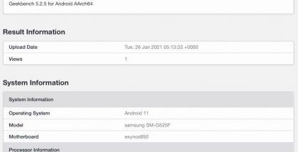 Samsung SM-G525F eli tuleva Galaxy Xcover 5 GeekBench-suorituskykytestin tietokannassa.