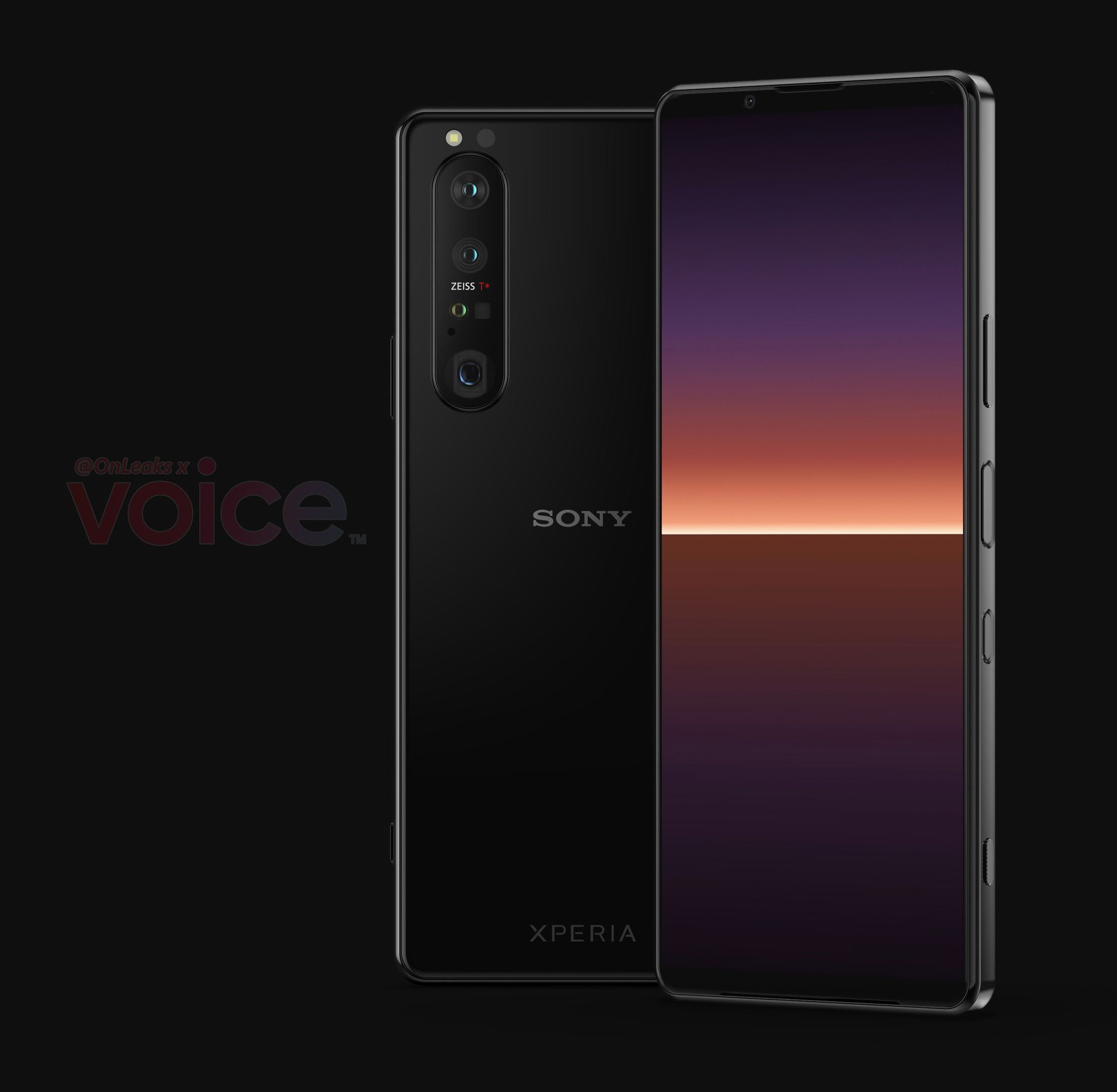 Sony Xperia 1 III:n mallinnos. Kuva: OnLeaks / Voice.