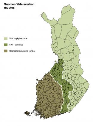 Näin Suomen Yhteisverkon alue laajenee 5G-verkon rakentamisen yhteydessä.