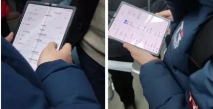 Väitetty Xiaomin taittuvanäyttöinen älypuhelin testikäytössä Kiinassa aiemmin tammikuussa paljastuneissa kuvissa.