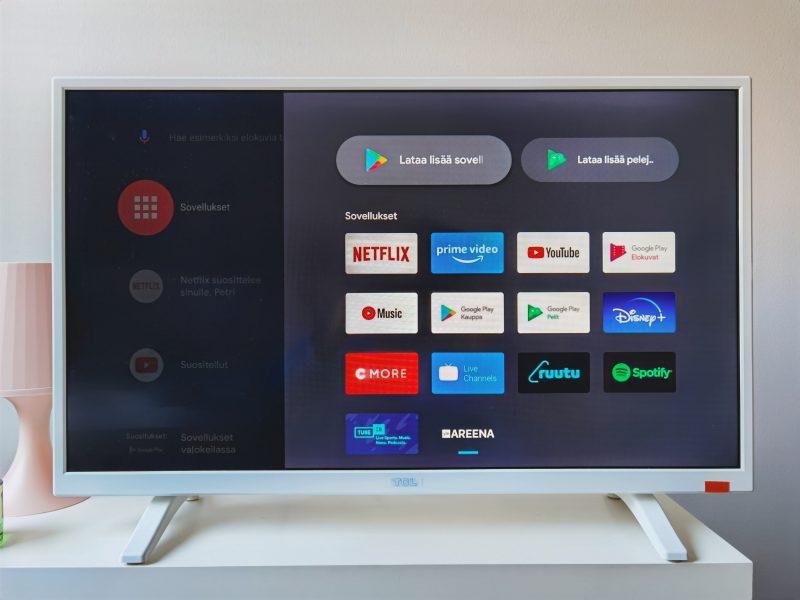 Android TV:n sovellusvalikko.