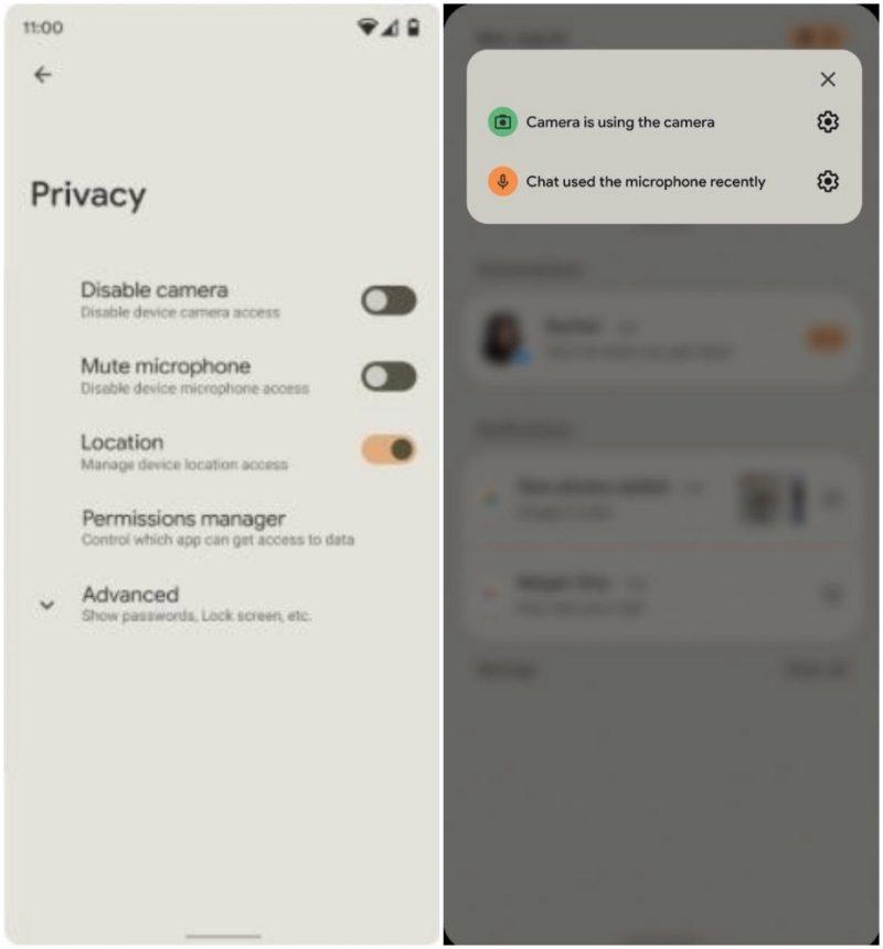 Android 12 viestii kameran tai mikrofonin käytöstä, ja tarjoaa uusia asetuksia.