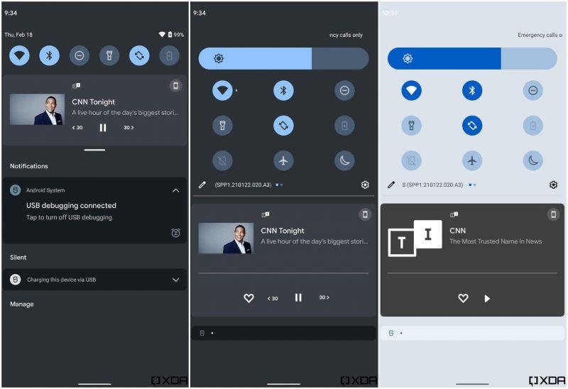 Android 12:ssa työn alla oleva pika-asetus- ja ilmoitusnäkymän uudistus XDA Developersin kuvissa.