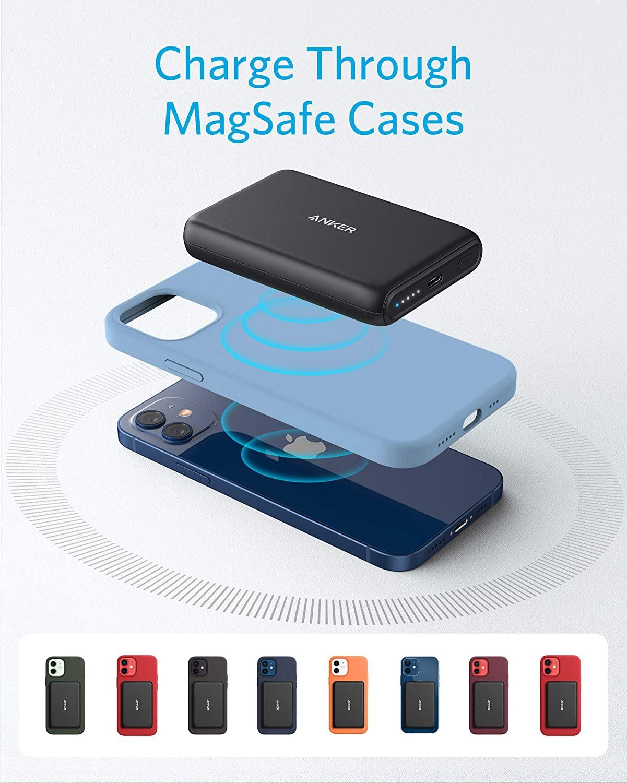 Ankerin lisäakku toimii myös MagSafe-suojakuorten kanssa.