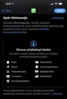 Esimerkki App Storessa esitettävistä tietosuojatiedoista esimerkiksi WhatsAppin osalta.