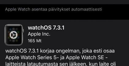 watchOS 7.3.1 on nyt ladattavissa.