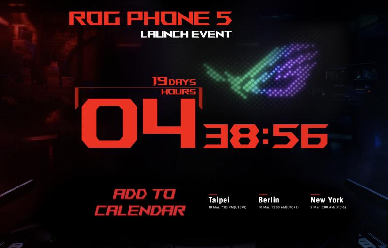 Asus ROG Phone 5 -ennakkosivu sisältää julkistukseen jäljellä olevaa aikaa laskevan laskurin.