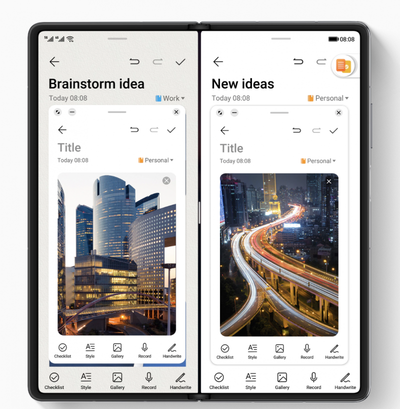 Huawei Mate X2:n näytölle saa avattua jopa neljä sovellusta. Tässä kuvassa näyttö on jaettu kahdelle sovellukselle, joiden päällä on vielä kaksi kelluvaa sovellusikkunaa.