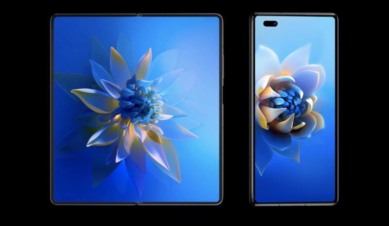 Huawei Mate X2:n sisä- ja ulkonäyttö.
