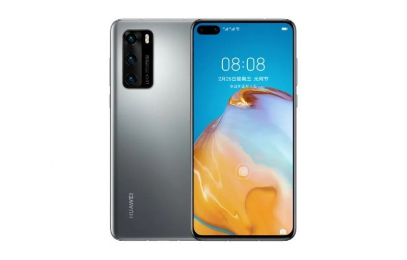 Huawei P40:n 4G-versio, Frost Silver.